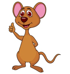 Cute mouse cartoon thumb up vector image