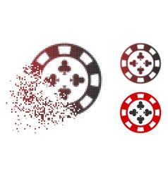 damaged pixel halftone poker casino chip icon vector image