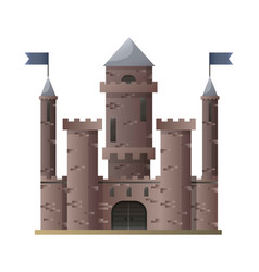 Dark brown cartoon medieval castle with high vector