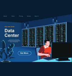 data center isometric landing page vector image