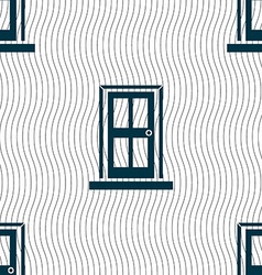 Door icon sign Seamless pattern with geometric vector image