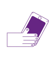 dotted shape hand with smartphone technology vector image