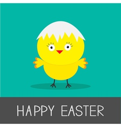 Easter chicken and eggshell flat design style card vector