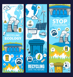 Environment and waste recycling green ecology vector