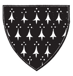 Ermine shield with a field argent with the vector
