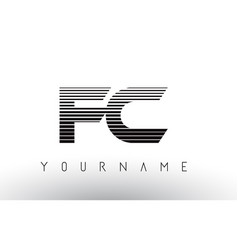 Fc f c black and white horizontal stripes letter vector