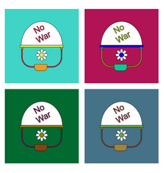 flat icon design collection no war military helmet vector image