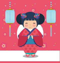 Floral decoration chinese lanterns and japanese vector