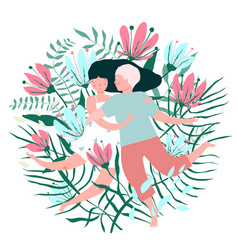 flowers and lovers hug valentine card vector image