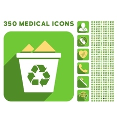 Full Recycle Bin Icon and Medical Longshadow Icon vector