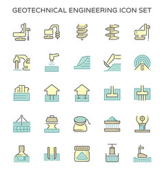 Geotechnical engineering and soil testing icon vector