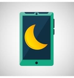Green smartphone weather moon icon design vector