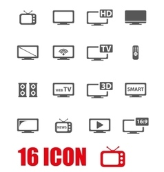 grey tv icon set vector image