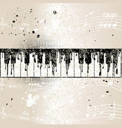 grunge musical background with abstract piano vector image