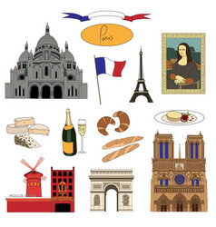 Hand-drawn paris landmarks and food colorful set vector