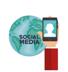 hand smartphone globe social media isolated design vector image