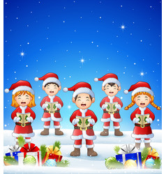 happy kid wearing santa costume singing in the win vector image