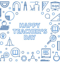happy teachers day outline or vector image