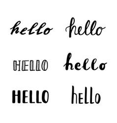 Hello calligraphy lettering quotes handwritten vector