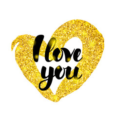 I love you gold inscription vector