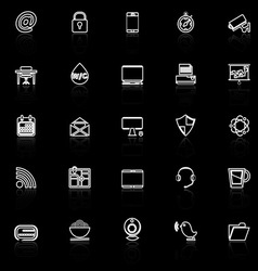 Internet cafe line icons with reflect on black vector image