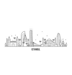 Istanbul skyline turkey city buildings line vector