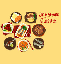 Japanese fish and meat dishes with vegetables vector
