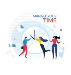 Manage your time motivation people cartoon banner vector