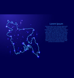 Map bangladesh from the contours network blue vector