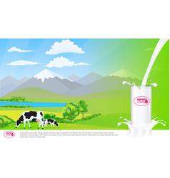 milk glass on milk splash beautiful nature vector image