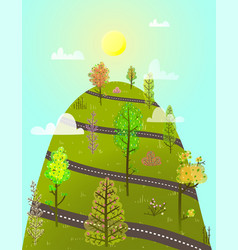 Mountain serpentine road with trees landscape vector