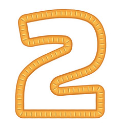 Number two bread icon cartoon style vector