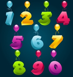 Numbers with party balloons vector