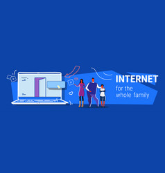 parents and son using laptop computer web browser vector image