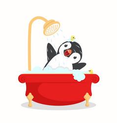 Penguin bath with foam vector