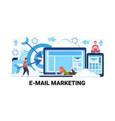 People using online device e-marketing advertising vector