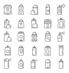 Personal deodorant icons set outline style vector