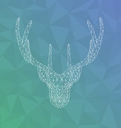Polygonal head of deer tattoo or geometric print vector