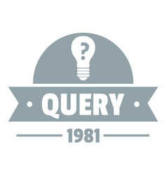 Query logo simple gray style vector