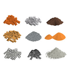 realistic 3d detailed building materials set vector image