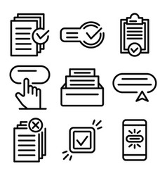 Request icons set outline style vector
