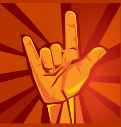 Rock and roll or heavy metal hand sign horns party vector