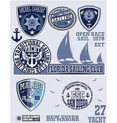 sail Set Of Vintage Retro Nautical Badges And Labe vector image