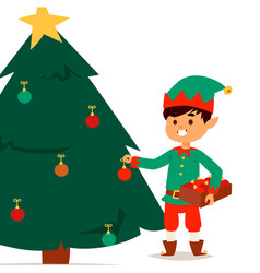 Santa claus elf kids cartoon elf helpers vector