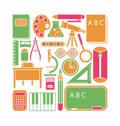 School icons and elements vector