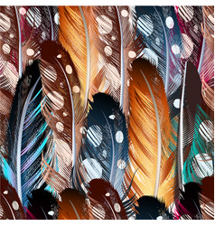 Seamless background with colorful feathers vector