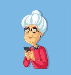 senior old woman using smartphone cartoon vector image