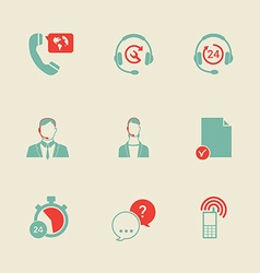 set call center and support service icons vector image