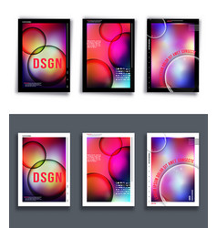 set colorful gradient background template vector image