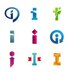 Set letter i logo icons design template vector
